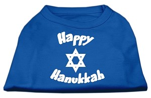 Happy Hanukkah Screen Print Shirt Blue Lg